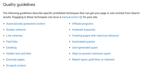 seo cape town quality content guidelines
